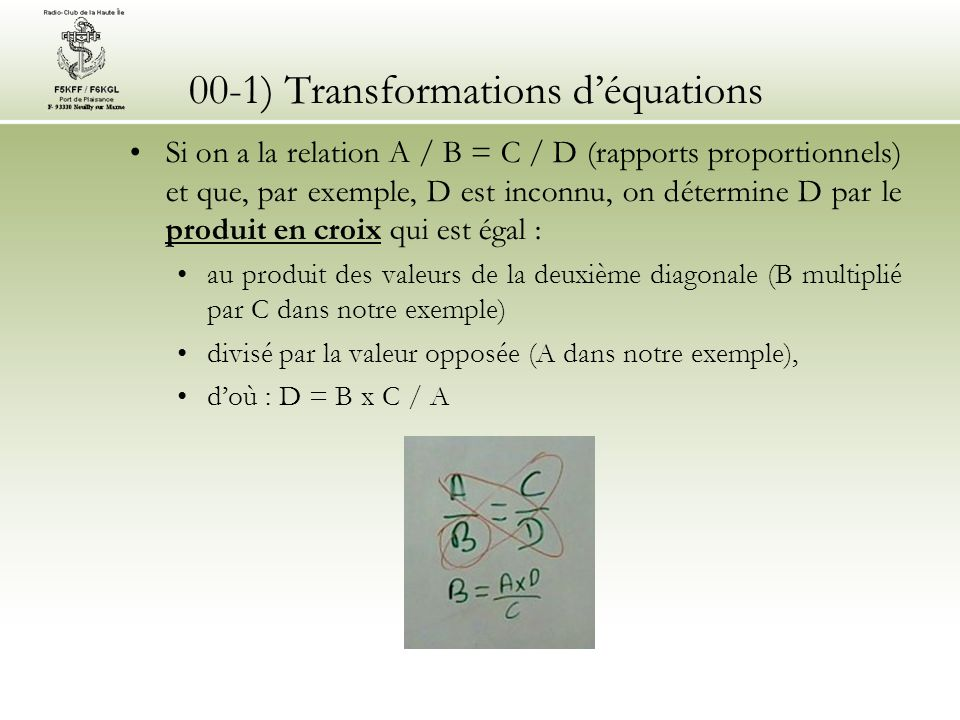 00-1) Transformations d'équations