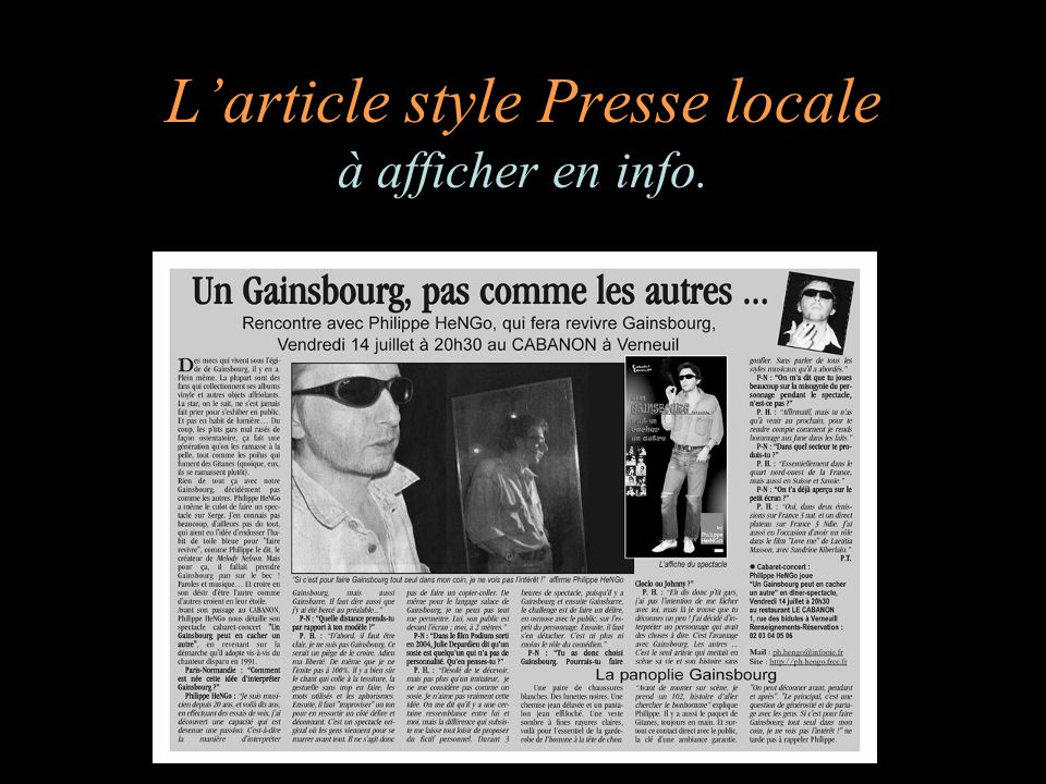 L'article style Presse locale à afficher en info.