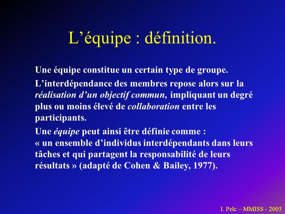 L'équipe : définition. Une équipe constitue un certain type de groupe.