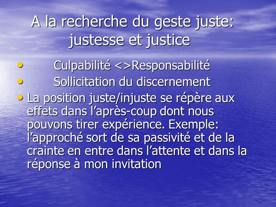 A la recherche du geste juste: justesse et justice
