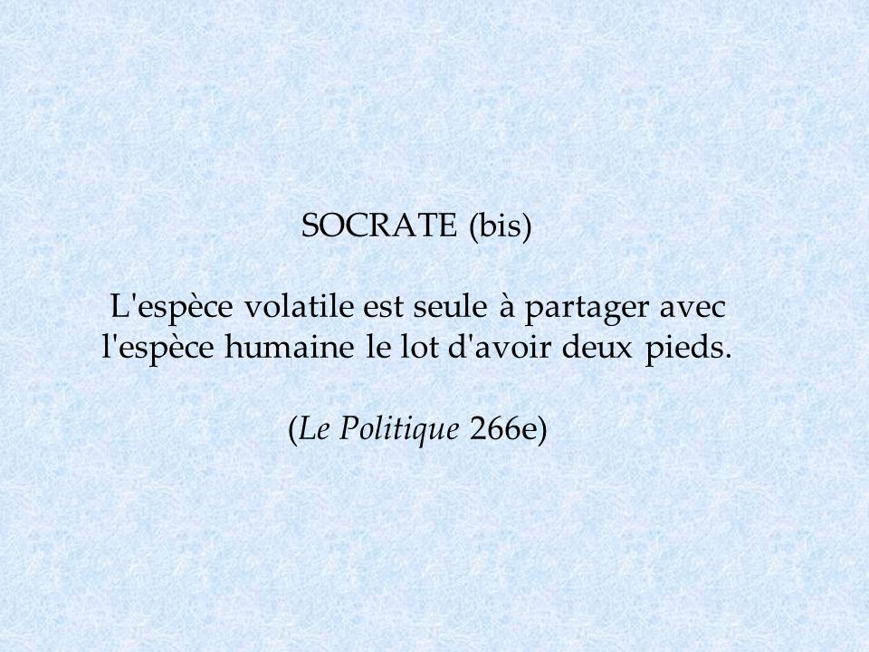 SOCRATE (bis) L espèce volatile est seule à partager avec l espèce humaine le lot d avoir deux pieds.