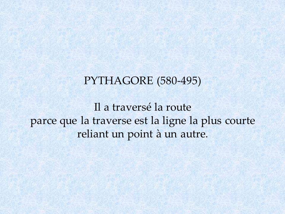 PYTHAGORE (580-495) Il a traversé la route parce que la traverse est la ligne la plus courte reliant un point à un autre.