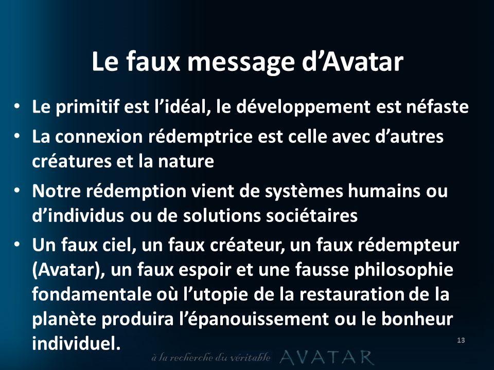 Le faux message d'Avatar