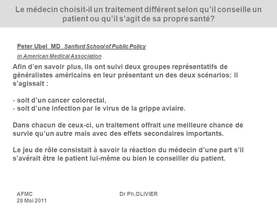 Le médecin choisit-il un traitement différent selon qu'il conseille un patient ou qu'il s'agit de sa propre santé