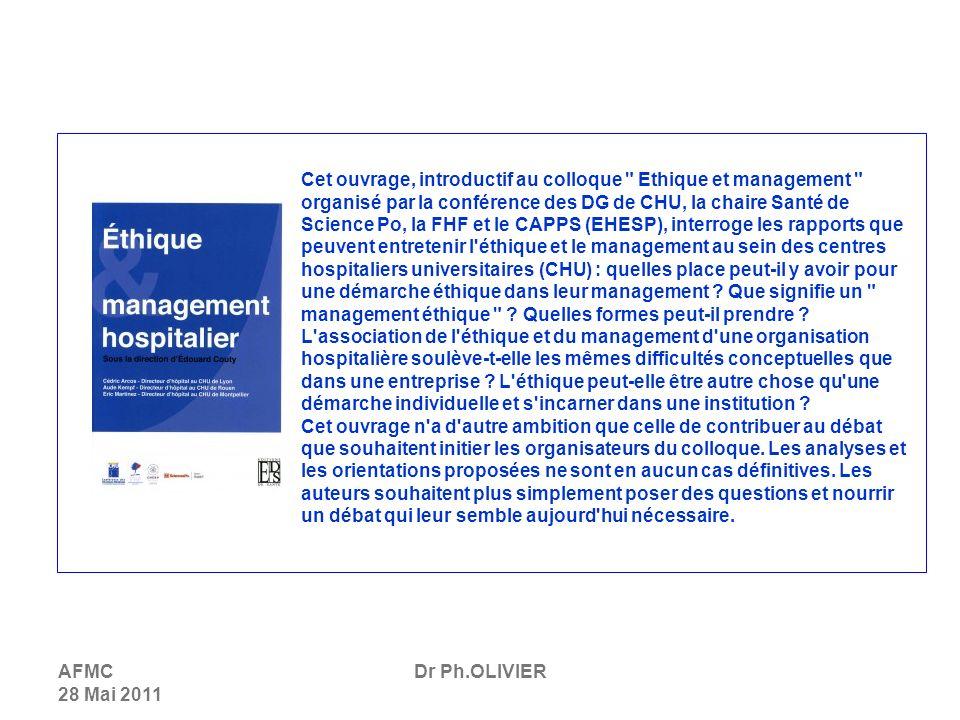 Cet ouvrage, introductif au colloque Ethique et management organisé par la conférence des DG de CHU, la chaire Santé de Science Po, la FHF et le CAPPS (EHESP), interroge les rapports que peuvent entretenir l éthique et le management au sein des centres hospitaliers universitaires (CHU) : quelles place peut-il y avoir pour une démarche éthique dans leur management Que signifie un management éthique Quelles formes peut-il prendre L association de l éthique et du management d une organisation hospitalière soulève-t-elle les mêmes difficultés conceptuelles que dans une entreprise L éthique peut-elle être autre chose qu une démarche individuelle et s incarner dans une institution