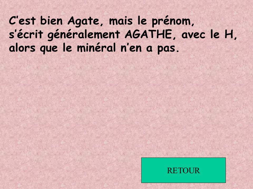 C'est bien Agate, mais le prénom,