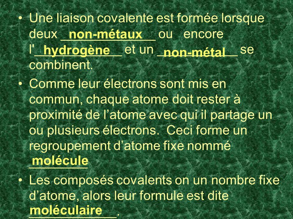 Une liaison covalente est formée lorsque deux _____________ ou encore l ____________ et un ___________ se combinent.