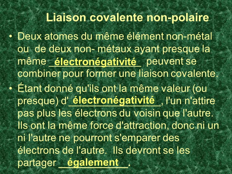 Liaison covalente non-polaire