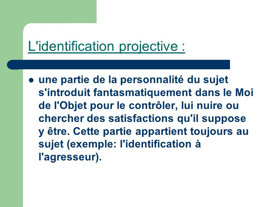 L identification projective :