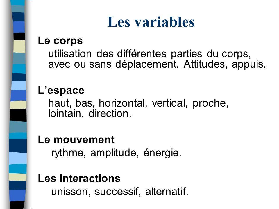 Les variables Le corps. utilisation des différentes parties du corps, avec ou sans déplacement. Attitudes, appuis.