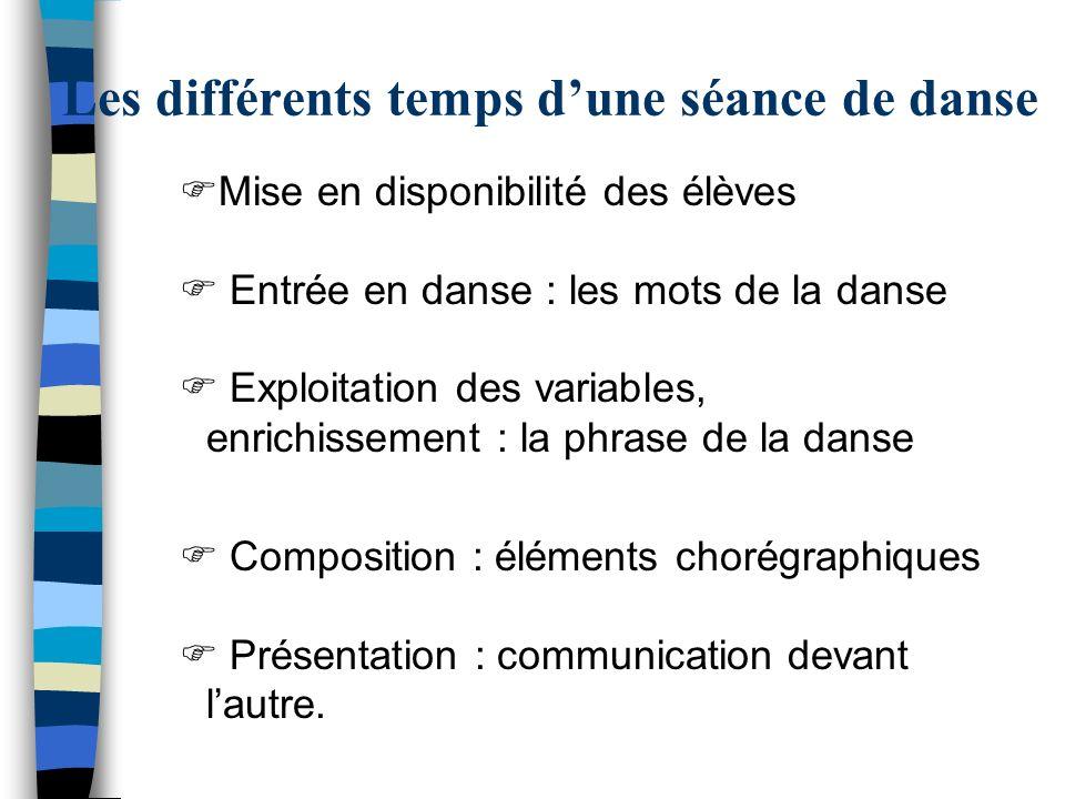 Les différents temps d'une séance de danse