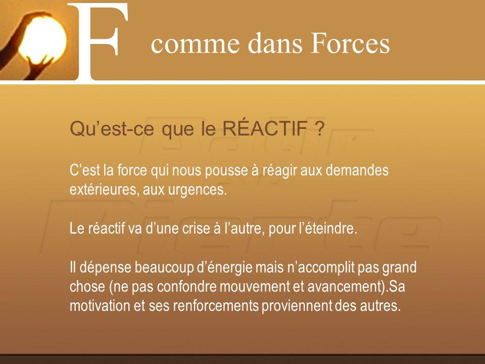 F comme dans Forces Qu'est-ce que le RÉACTIF