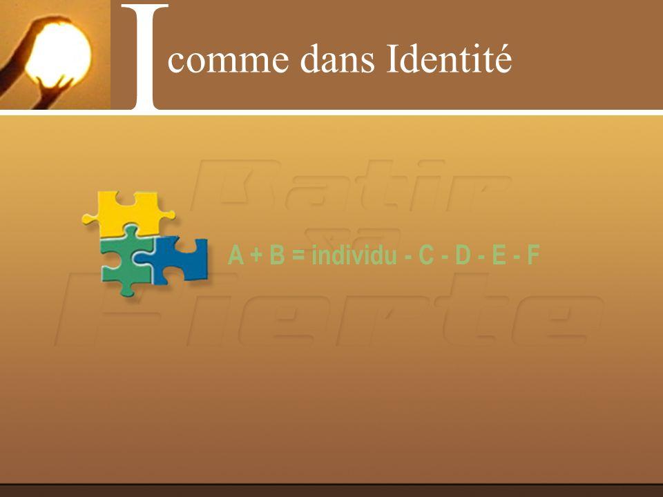I comme dans Identité A + B = individu - C - D - E - F