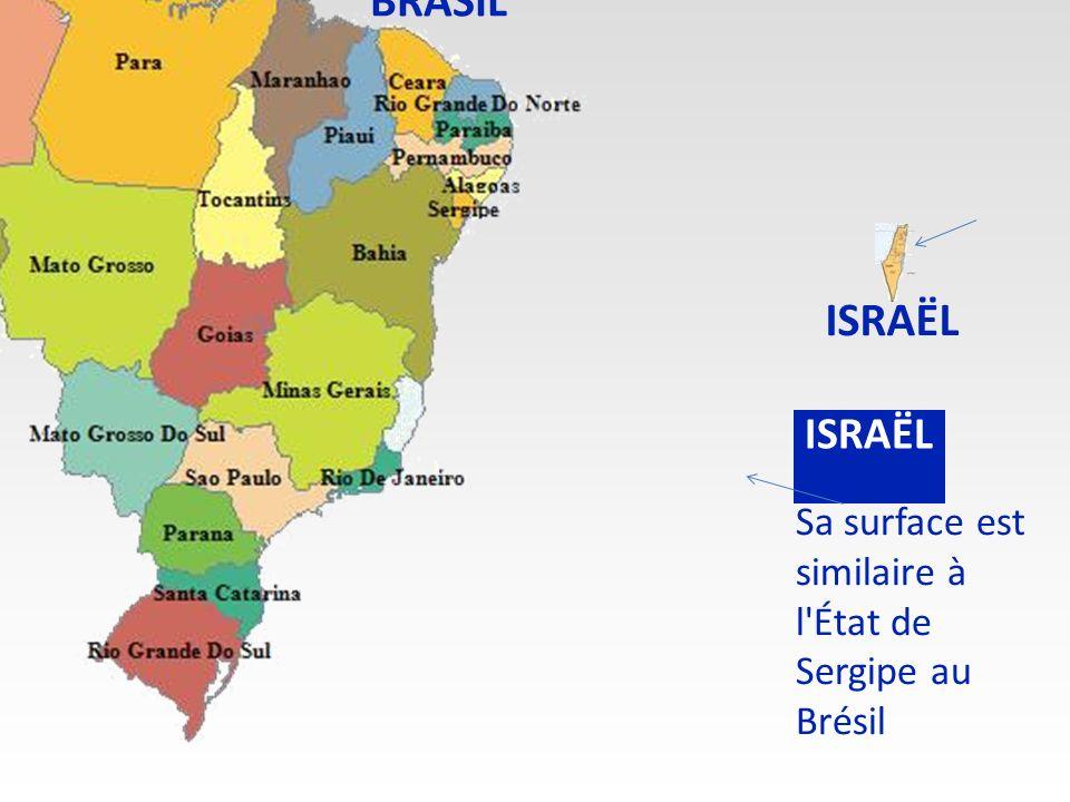 BRASIL ISRAËL ISRAËL Sa surface est similaire à l État de Sergipe au Brésil
