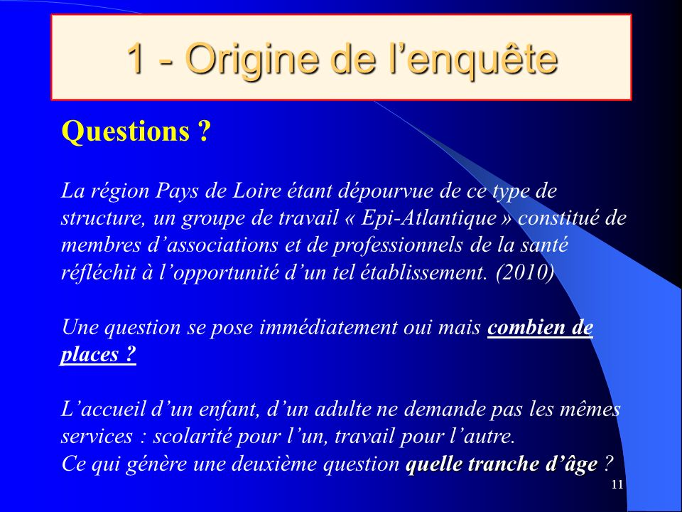 1 - Origine de l'enquête Questions