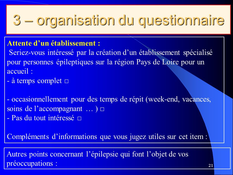 3 – organisation du questionnaire