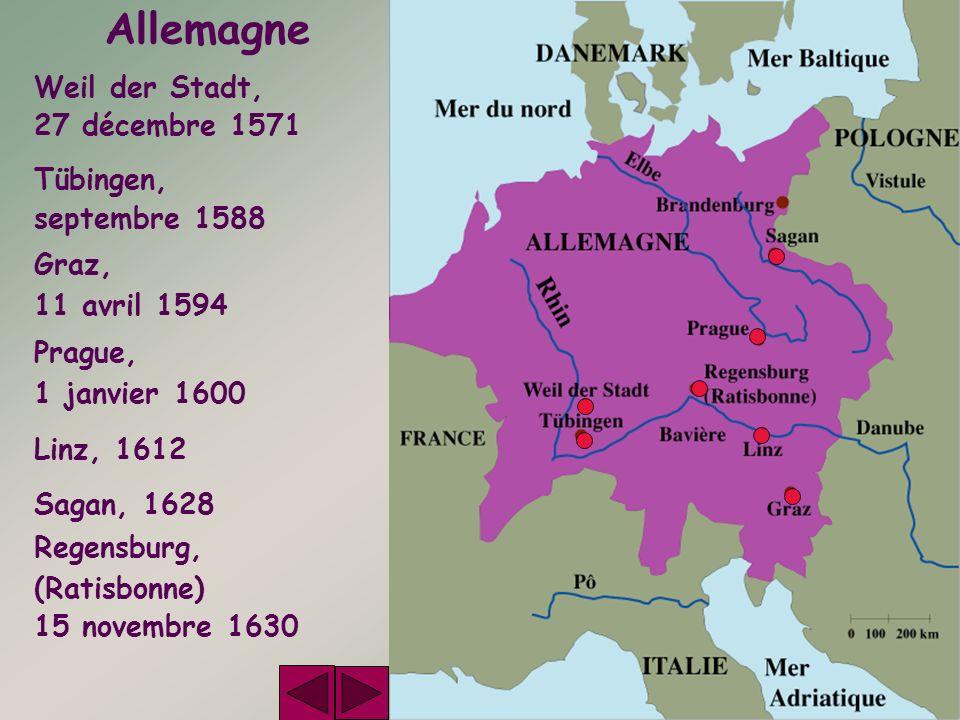 Allemagne Weil der Stadt, 27 décembre 1571 Tübingen, septembre 1588