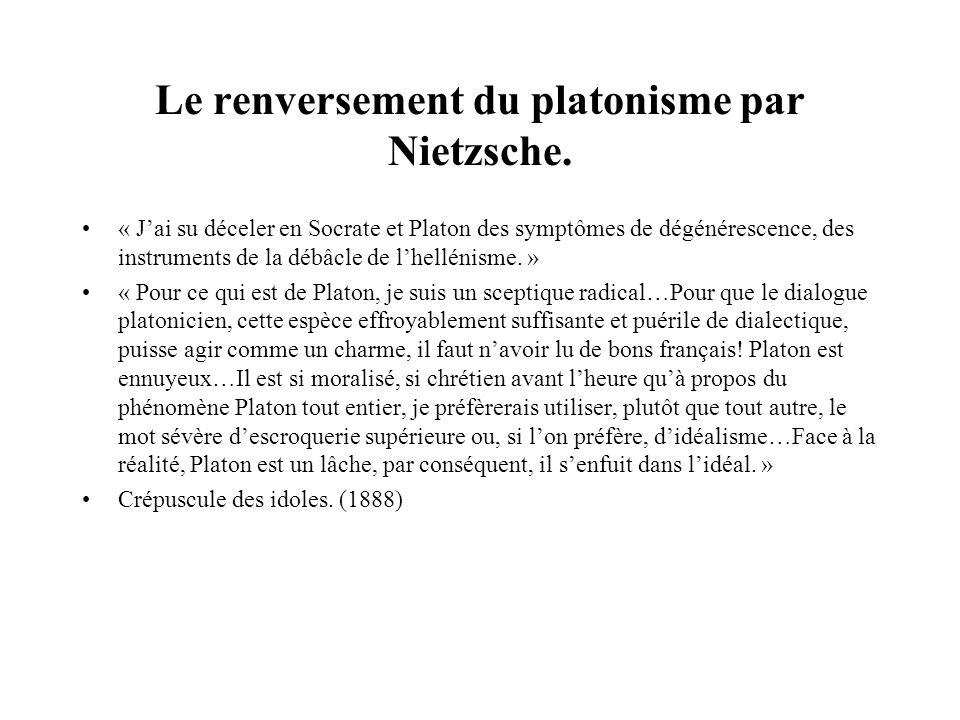 Le renversement du platonisme par Nietzsche.