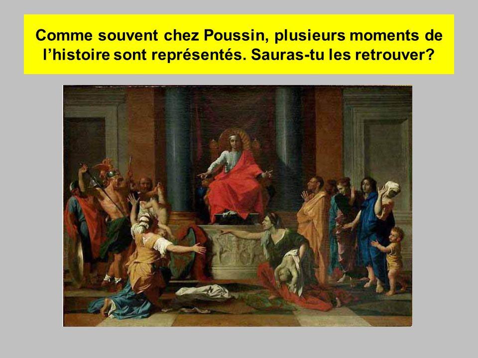 Comme souvent chez Poussin, plusieurs moments de l'histoire sont représentés.