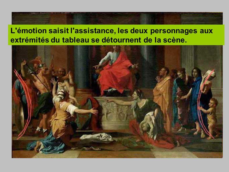 L émotion saisit l assistance, les deux personnages aux extrémités du tableau se détournent de la scène.