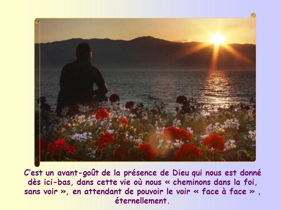 C'est un avant-goût de la présence de Dieu qui nous est donné dès ici-bas, dans cette vie où nous « cheminons dans la foi, sans voir », en attendant de pouvoir le voir « face à face » , éternellement.