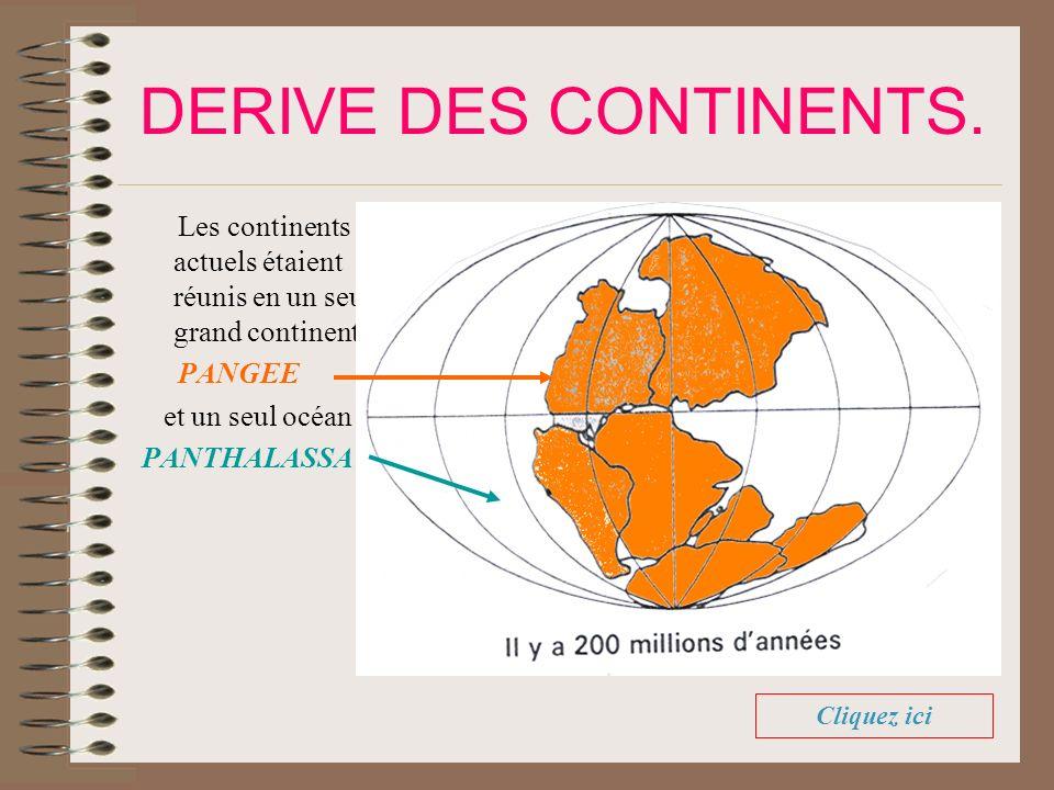 DERIVE DES CONTINENTS. Les continents actuels étaient réunis en un seul grand continent: PANGEE. et un seul océan :