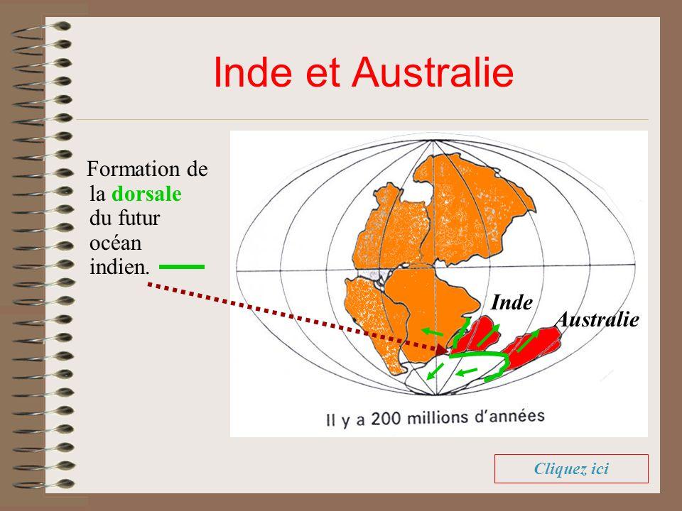 Inde et Australie Formation de la dorsale du futur océan indien. Inde