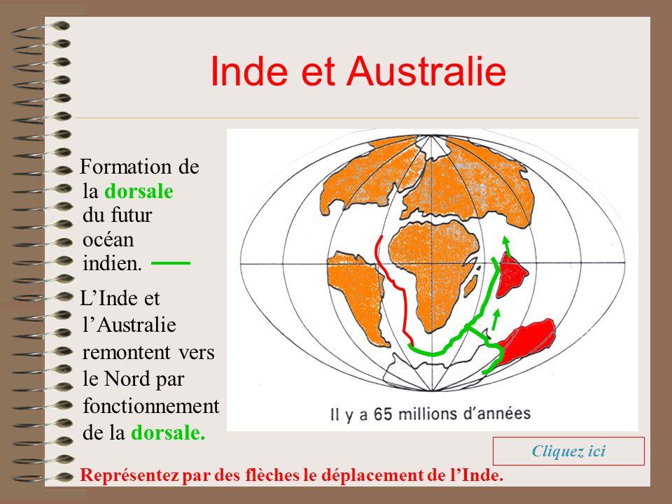 Inde et Australie Formation de la dorsale du futur océan indien.