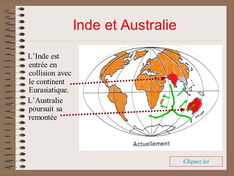 Inde et Australie L'Inde est entrée en collision avec le continent Eurasiatique. L'Australie poursuit sa remontée.