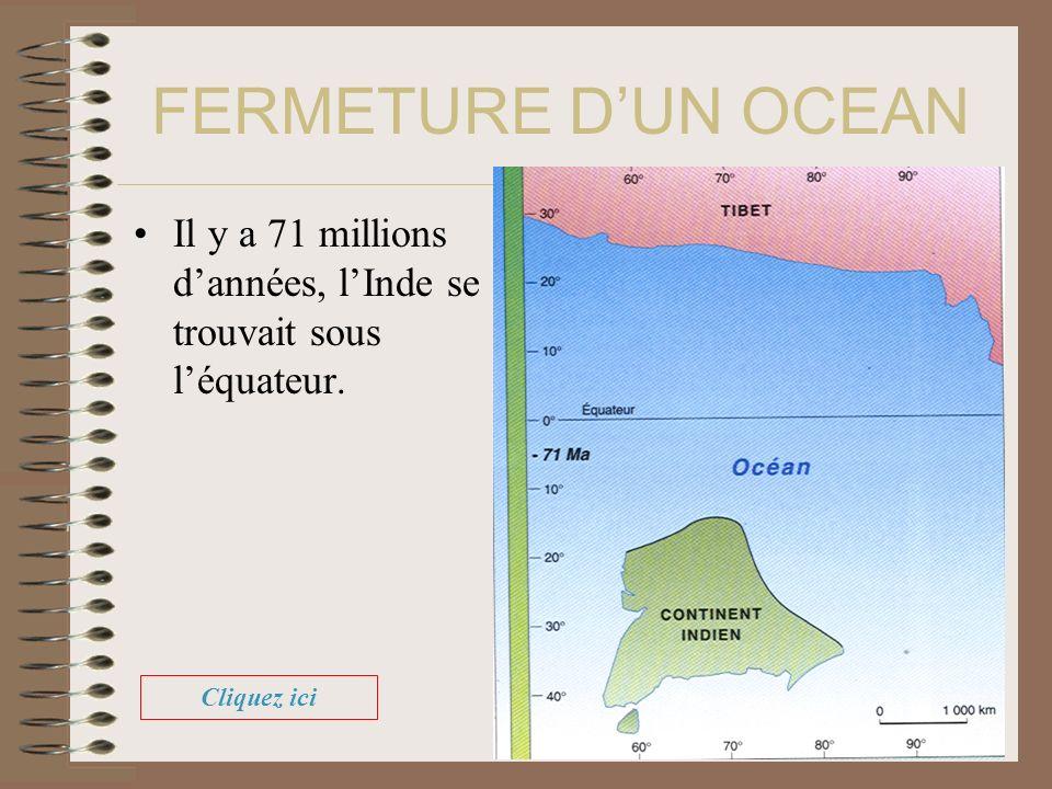 FERMETURE D'UN OCEAN Il y a 71 millions d'années, l'Inde se trouvait sous l'équateur. Cliquez ici