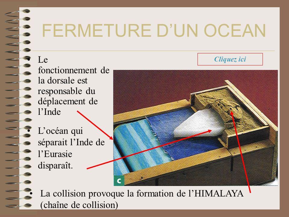 FERMETURE D'UN OCEAN Le fonctionnement de la dorsale est responsable du déplacement de l'Inde. Cliquez ici.