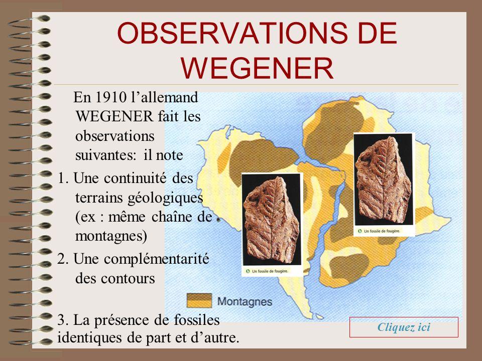 OBSERVATIONS DE WEGENER