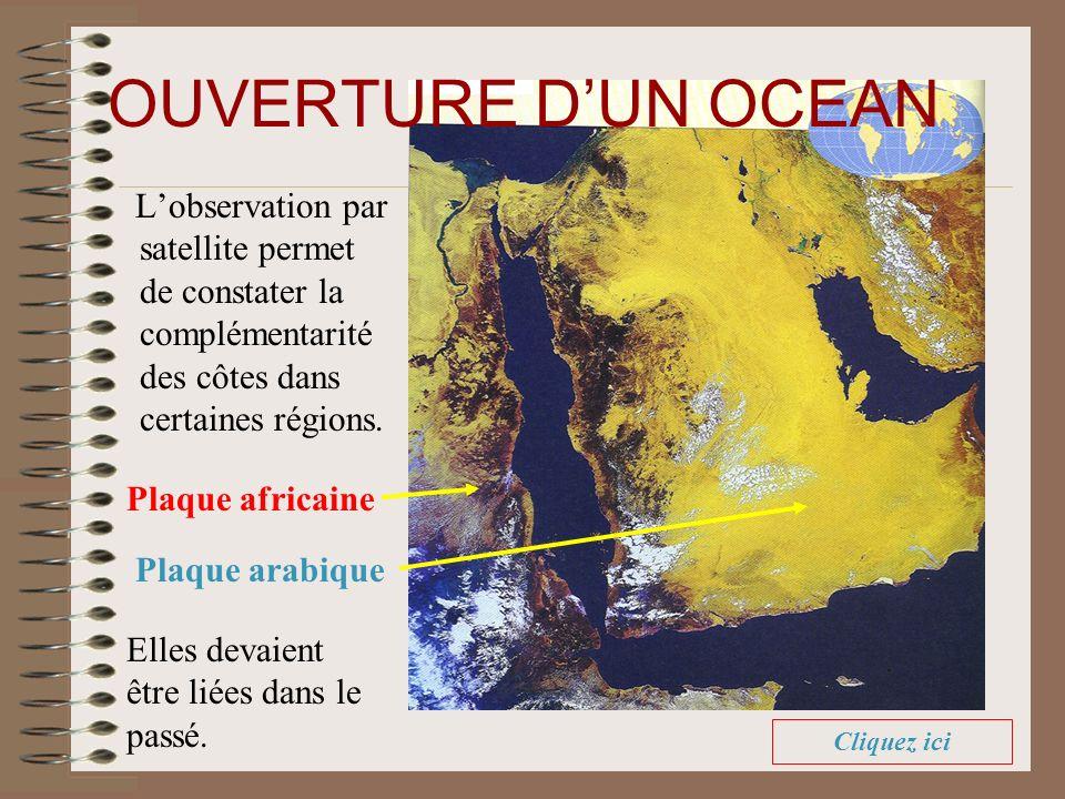 OUVERTURE D'UN OCEAN L'observation par satellite permet de constater la complémentarité des côtes dans certaines régions.