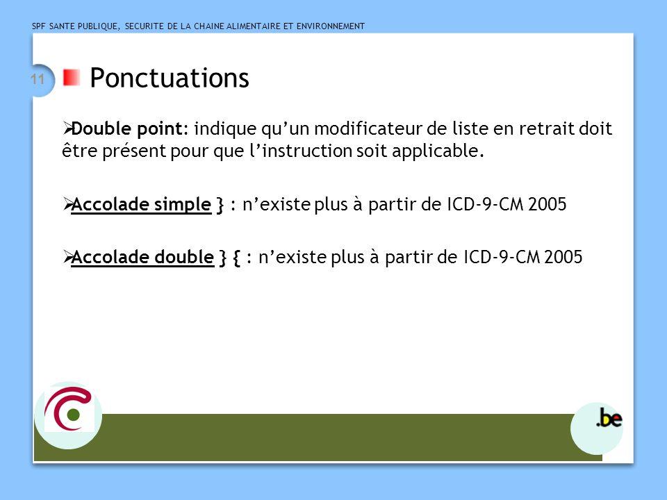 Ponctuations Double point: indique qu'un modificateur de liste en retrait doit être présent pour que l'instruction soit applicable.
