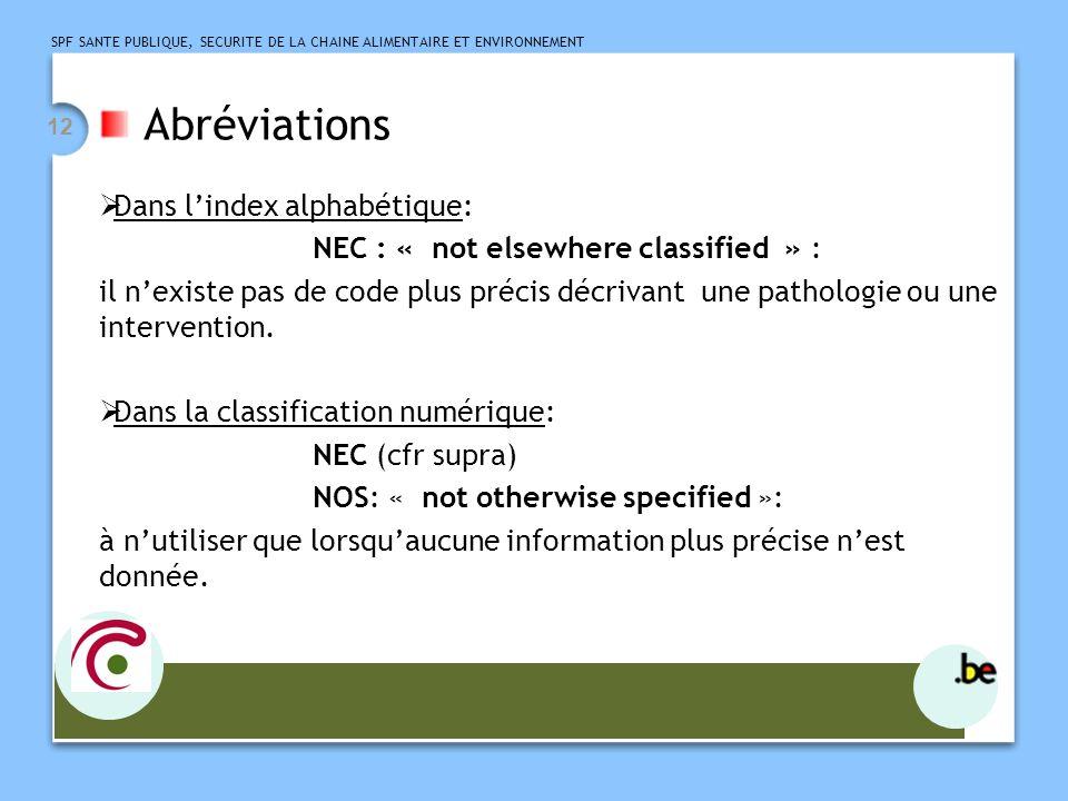 Abréviations Dans l'index alphabétique: