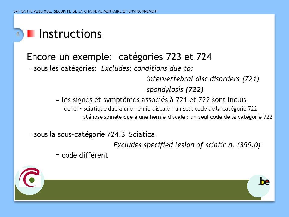 Instructions Encore un exemple: catégories 723 et 724