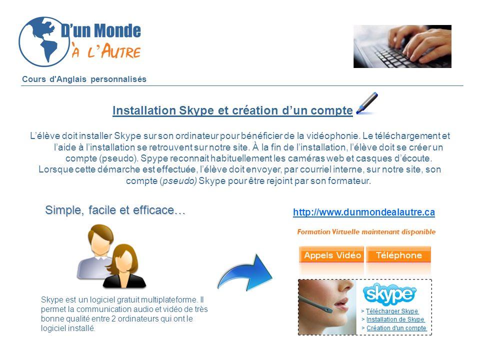 Installation Skype et création d'un compte