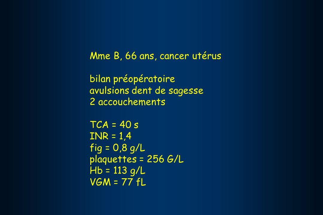 Mme B, 66 ans, cancer utérus bilan préopératoire. avulsions dent de sagesse. 2 accouchements. TCA = 40 s.
