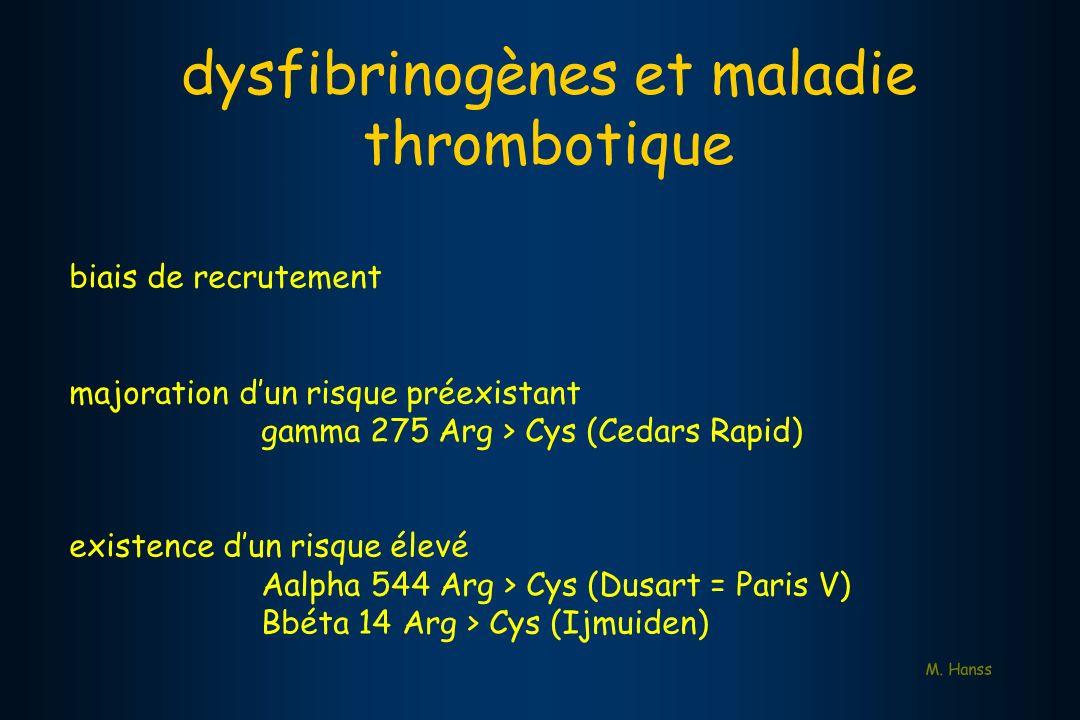 dysfibrinogènes et maladie thrombotique