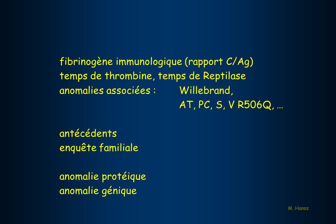 fibrinogène immunologique (rapport C/Ag)