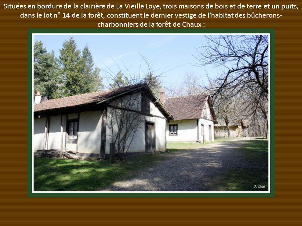 Situées en bordure de la clairière de La Vieille Loye, trois maisons de bois et de terre et un puits, dans le lot n° 14 de la forêt, constituent le dernier vestige de l habitat des bûcherons-charbonniers de la forêt de Chaux :