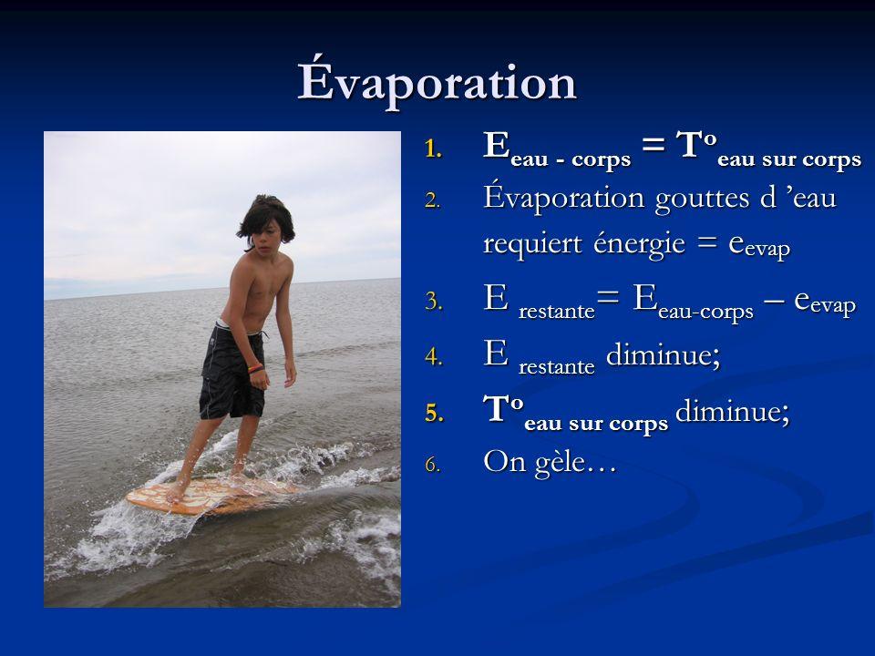 Évaporation Eeau - corps = Toeau sur corps