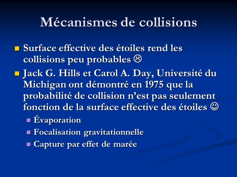 Mécanismes de collisions
