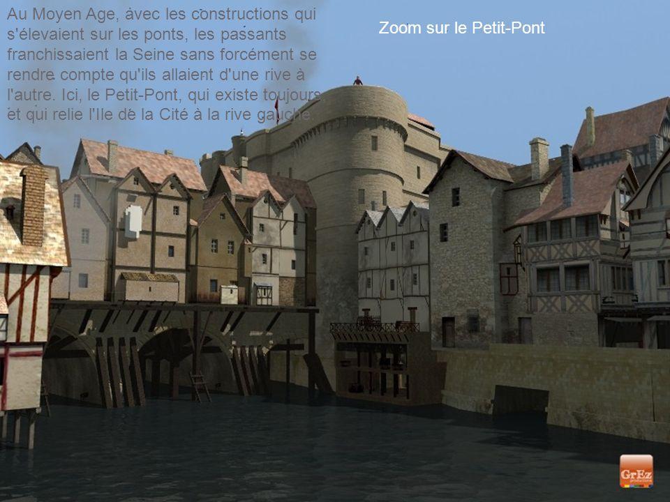 Au Moyen Age, avec les constructions qui s élevaient sur les ponts, les passants franchissaient la Seine sans forcément se rendre compte qu ils allaient d une rive à l autre. Ici, le Petit-Pont, qui existe toujours, et qui relie l Ile de la Cité à la rive gauche.