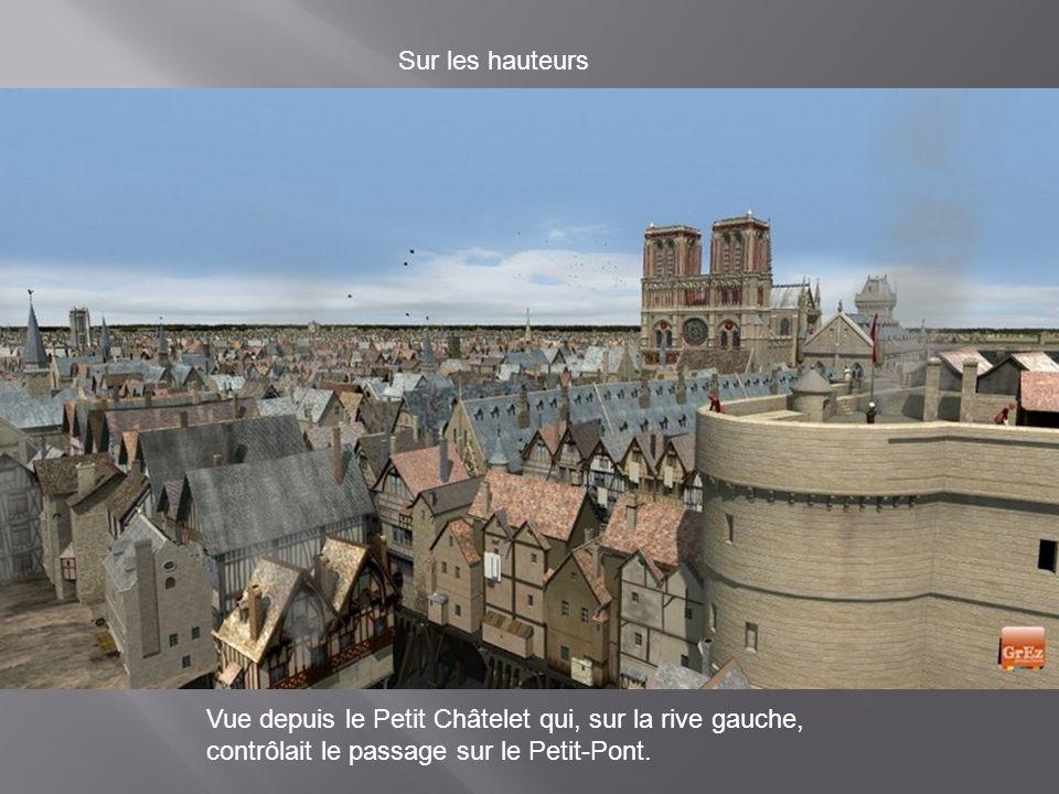 Sur les hauteurs Vue depuis le Petit Châtelet qui, sur la rive gauche, contrôlait le passage sur le Petit-Pont.