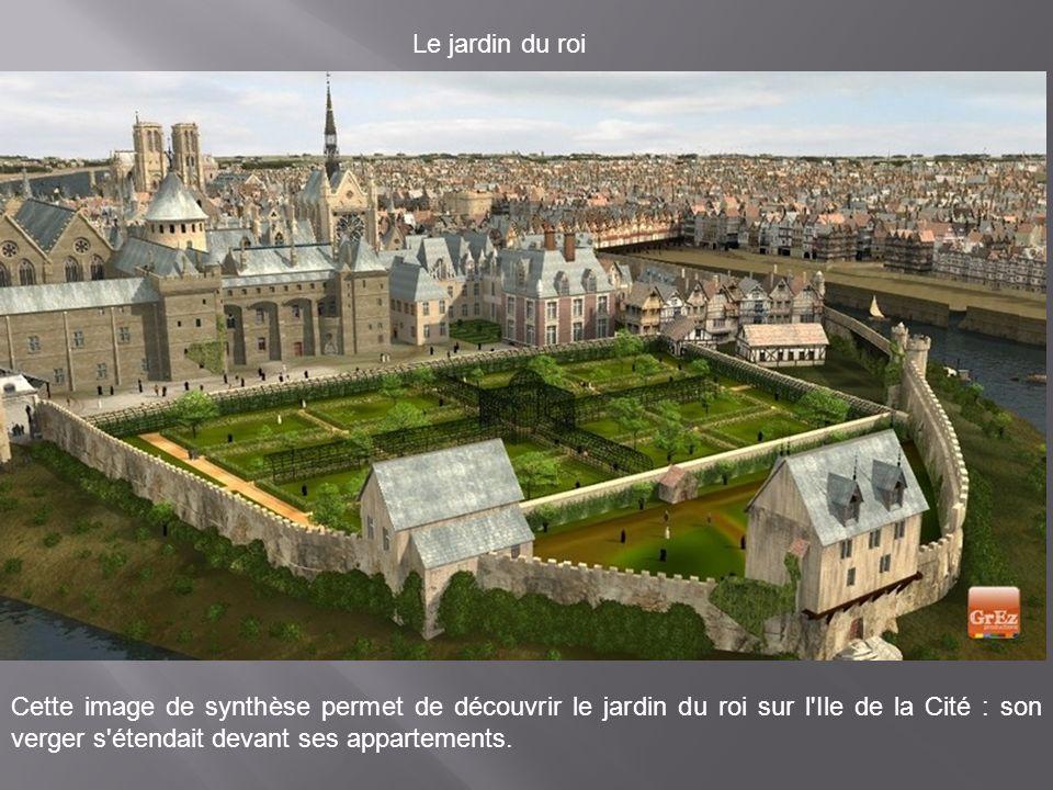 Le jardin du roi Cette image de synthèse permet de découvrir le jardin du roi sur l Ile de la Cité : son verger s étendait devant ses appartements.