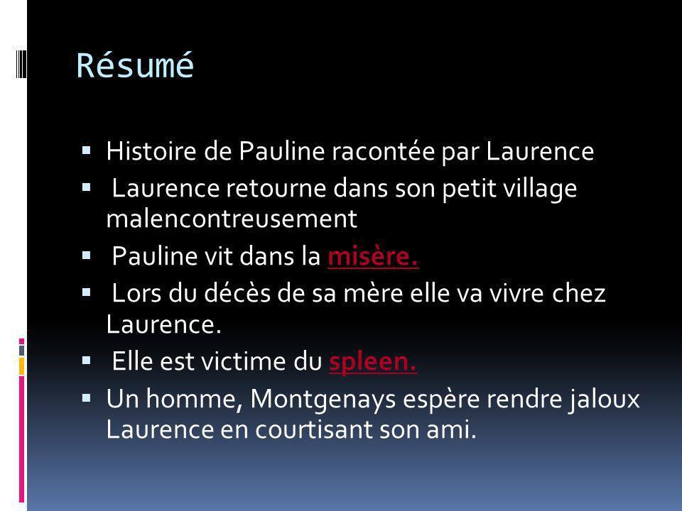 Résumé Histoire de Pauline racontée par Laurence