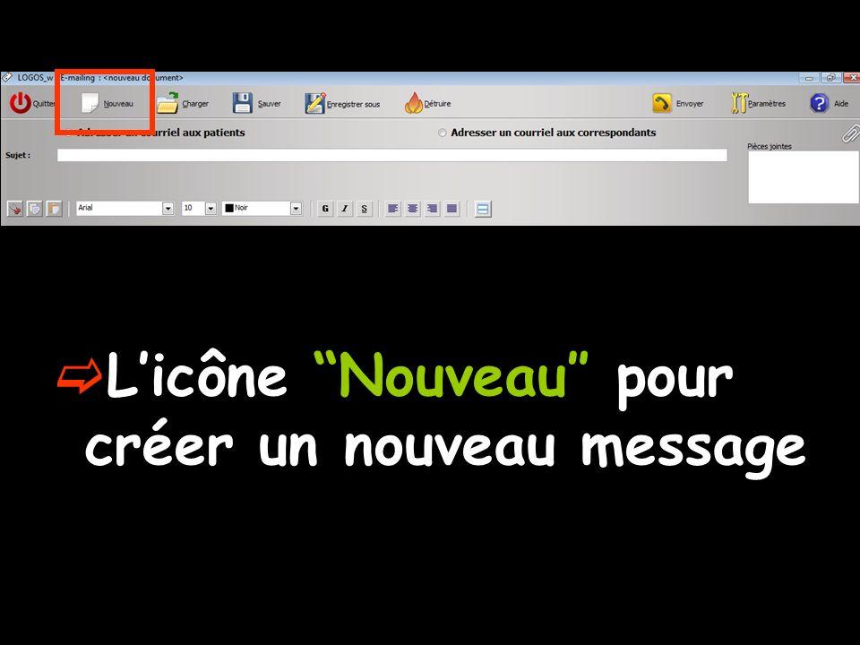 L'icône Nouveau″ pour créer un nouveau message