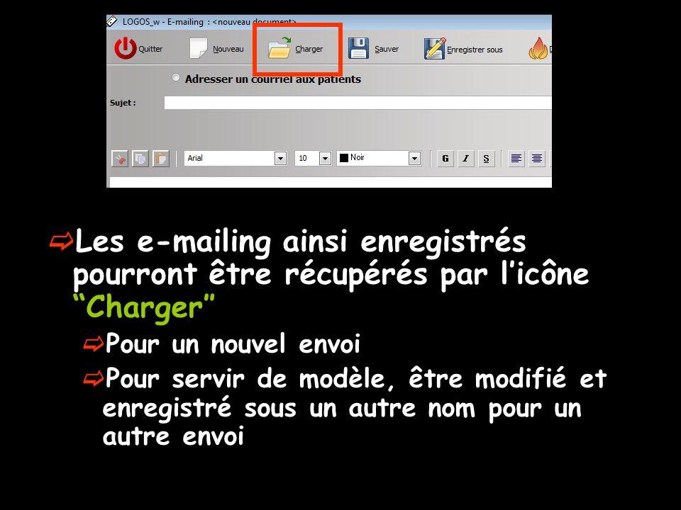 Les e-mailing ainsi enregistrés pourront être récupérés par l'icône Charger″