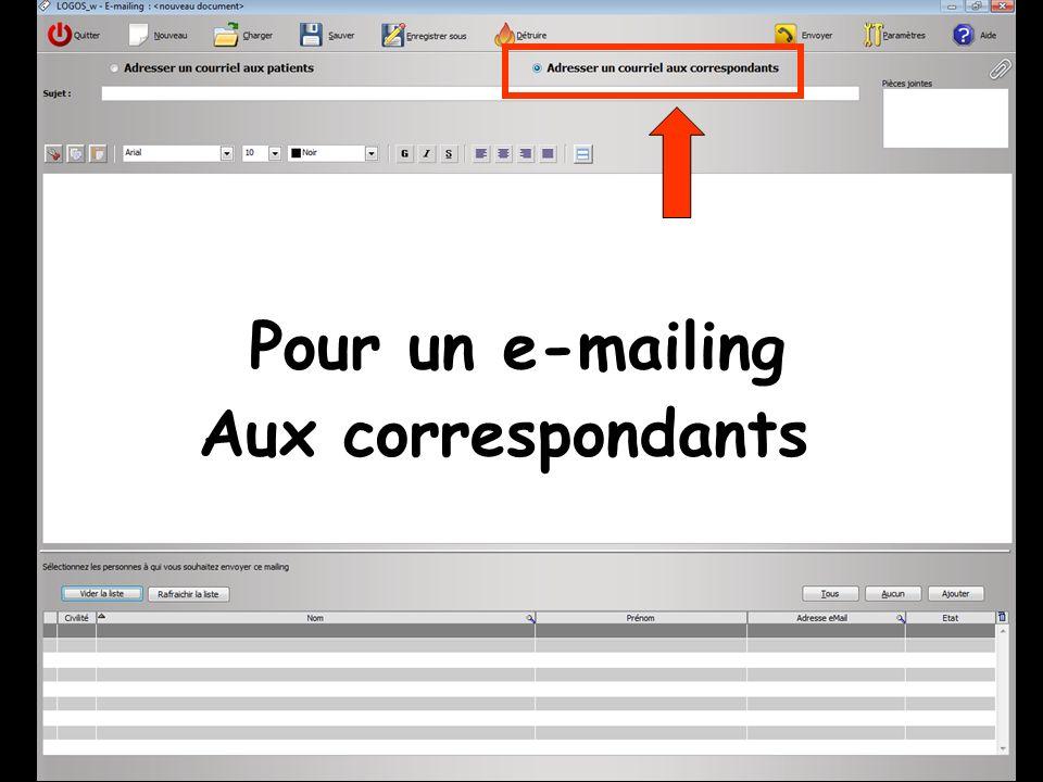 Pour un e-mailing Aux correspondants